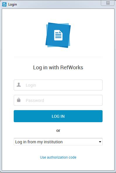 RefWorks login window
